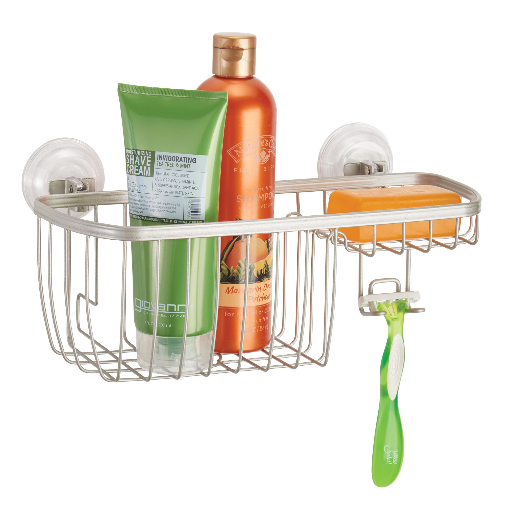 better homes gardens satin suction shower basket