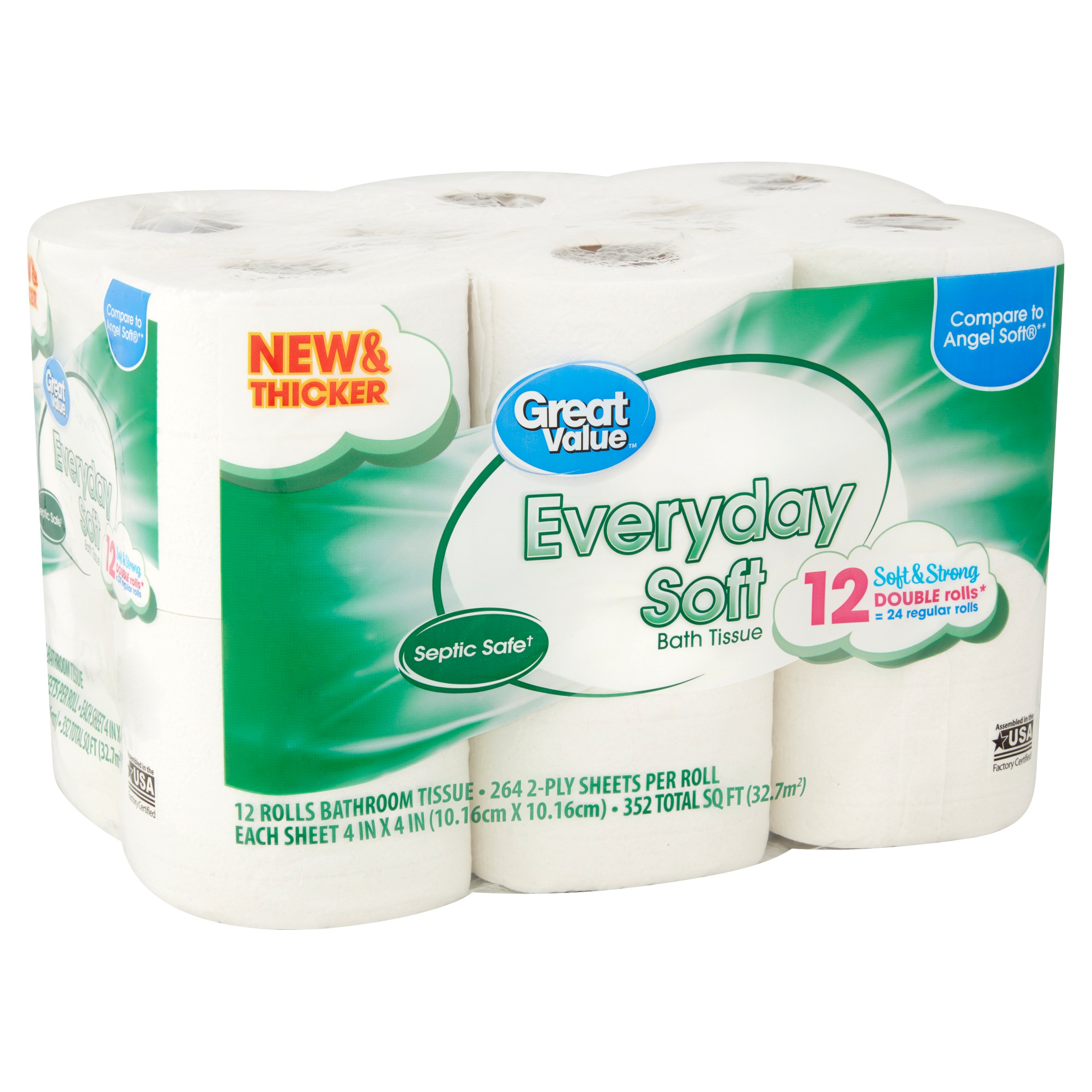 great value bath tissue, everyday soft, 12 double rolls - walmart
