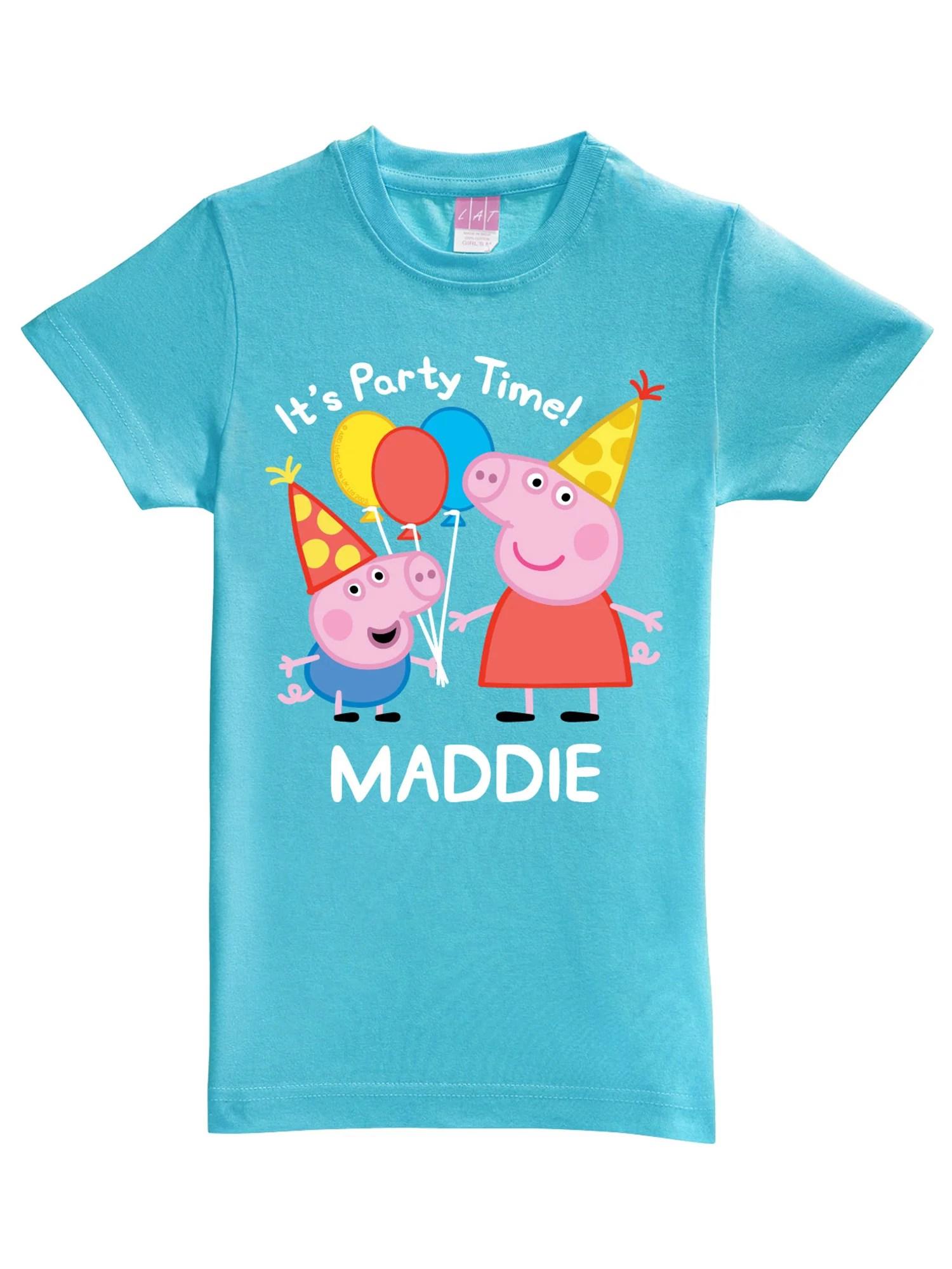 Peppa Pig Personalized Peppa Pig Peppa And George Birthday Aqua Girls Fitted T Shirt Walmart Com Walmart Com