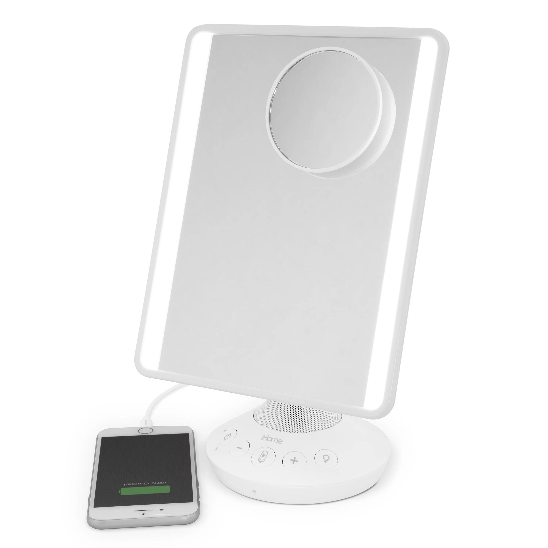 80 value ihome mirror with bluetooth audio led lighting bonus 10x magnification siri google support usb charging 7 x 9 walmart com