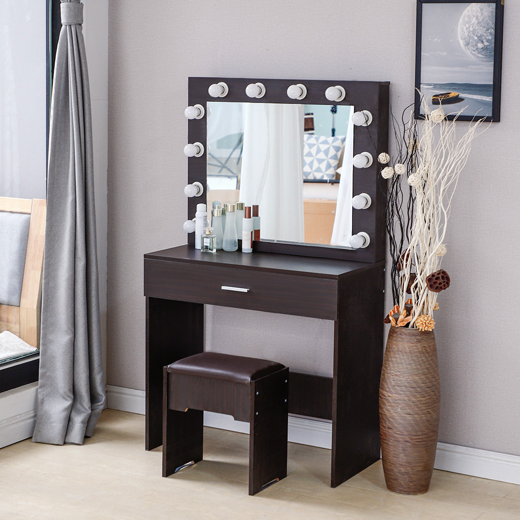 cotonie vanity set with lighted mirror cushioned stool dressing table makeup table