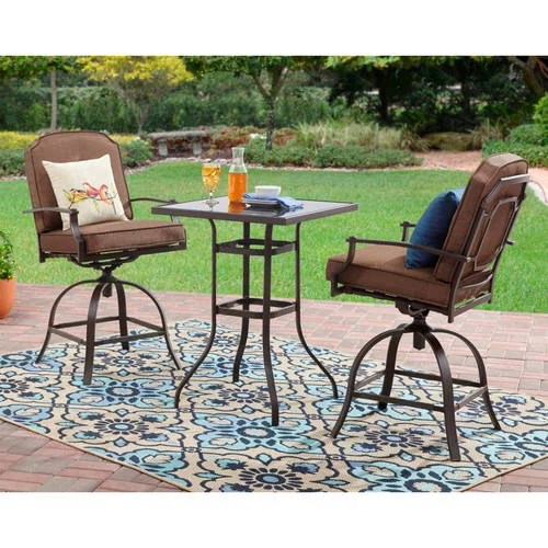 mainstays wentworth 3 piece high outdoor bistro set seats 2 walmart com