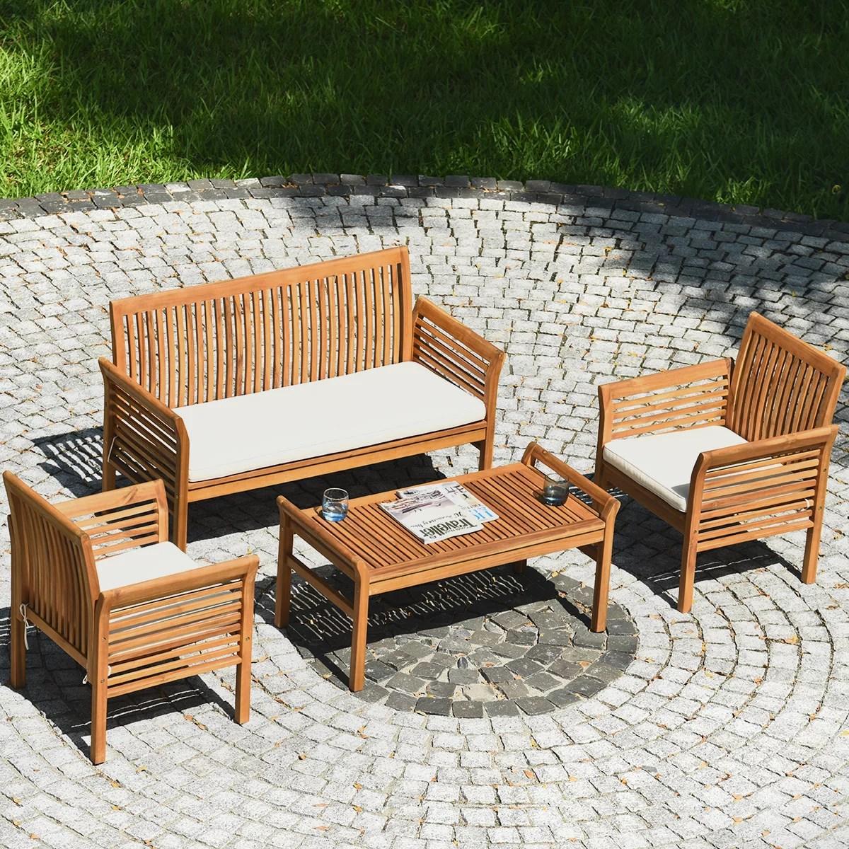 gymax 4pcs wooden patio conversation set outdoor furniture set w cushion