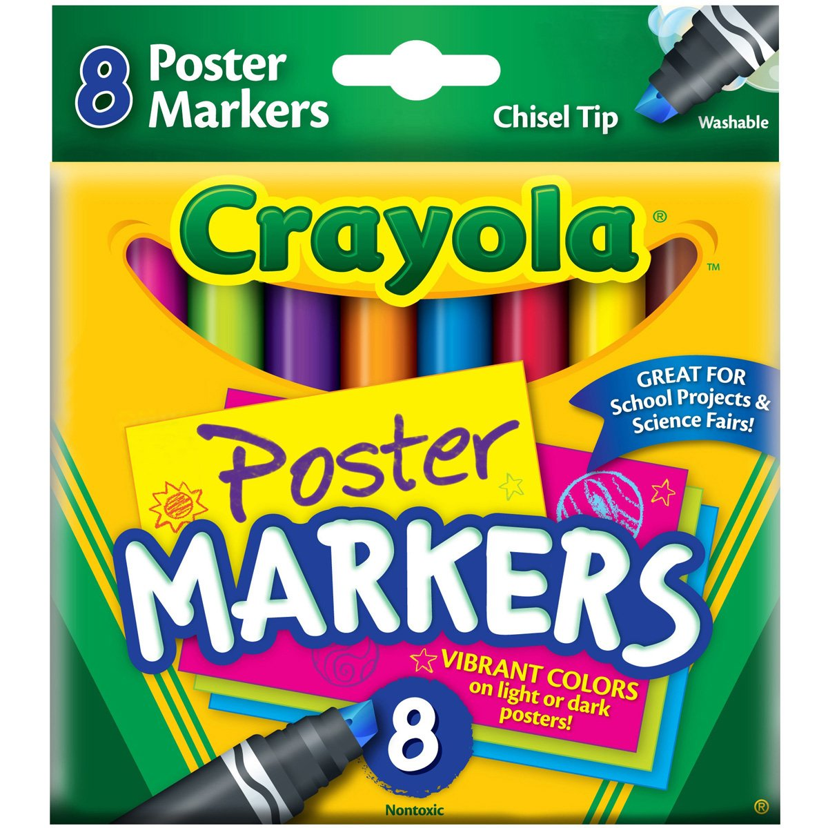 poster markers chisel tip washable 8 box assorted cyo588173 poster markers deliver vibrant bold colors on light or dark color poster board by