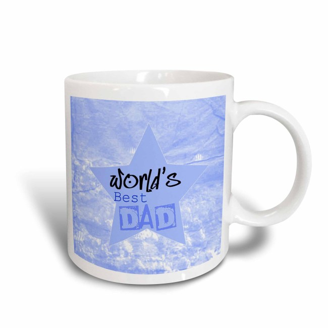 3dRose Worlds Best Dad Blue Star Fathers Day Family, Ceramic Mug, 15-ounce