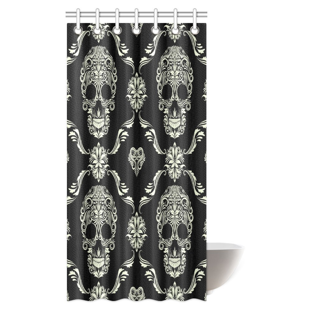 pop gothic shower curtain ornament with skull goth skeleton floral design in baroque style bathroom shower curtain 36x72 inch