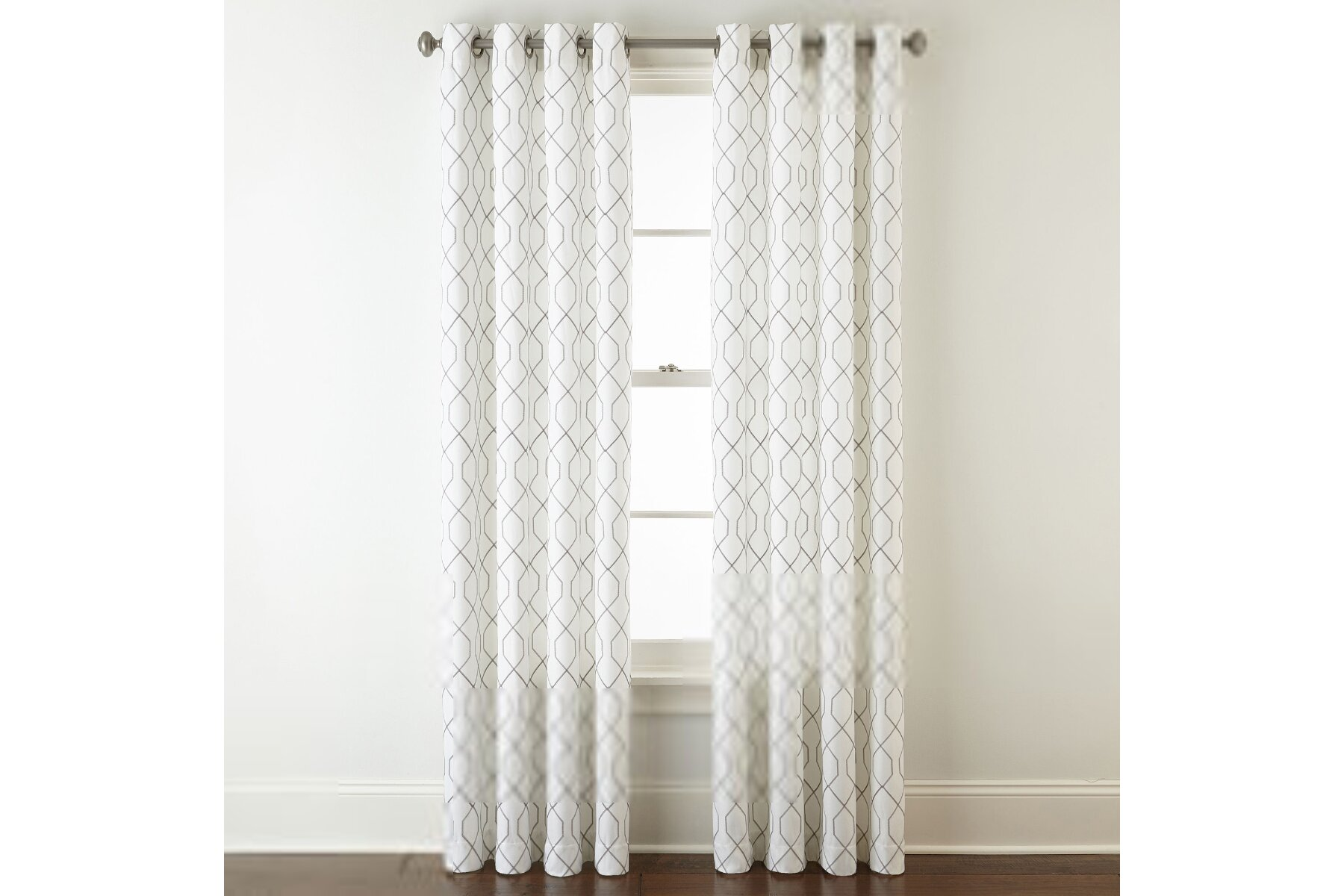 jcpenney home pasadena embroidery room darkening grommet top curtain panel dimensions 63 inches length x 50 inches width cool white