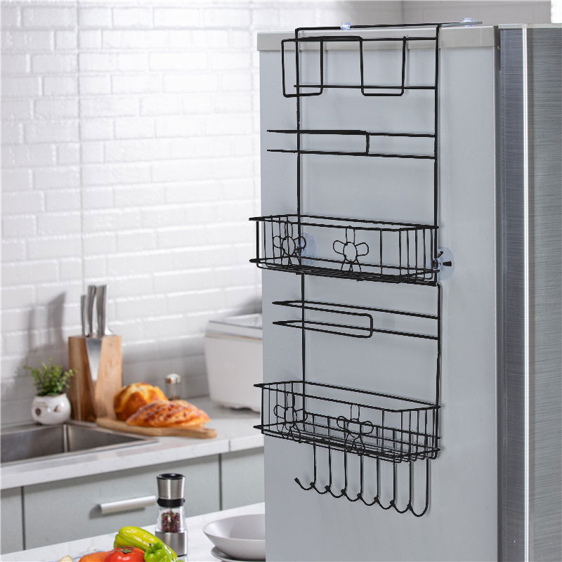6 layer refrigerator side rack storage rack fridge shelf sidewall holder kitchen supplies organizer household hanging hook folding fridge storage