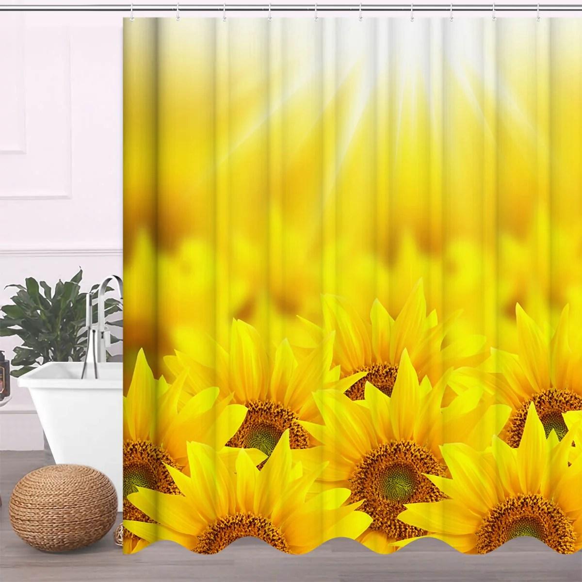 sunflower shower curtain sets with 3pcs non slip rugs toilet lid cover bath mat sunflower bathroom decor bathtub curtain waterproof cloth fabric