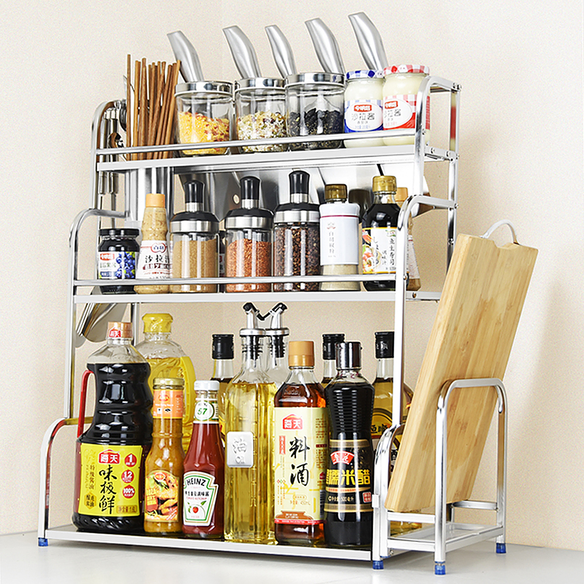kitchen spice rack stainless steel spice rack organizer for countertop 2 tier 3 tier metal kitchen organizer standing bottle seasoning hanging shelf