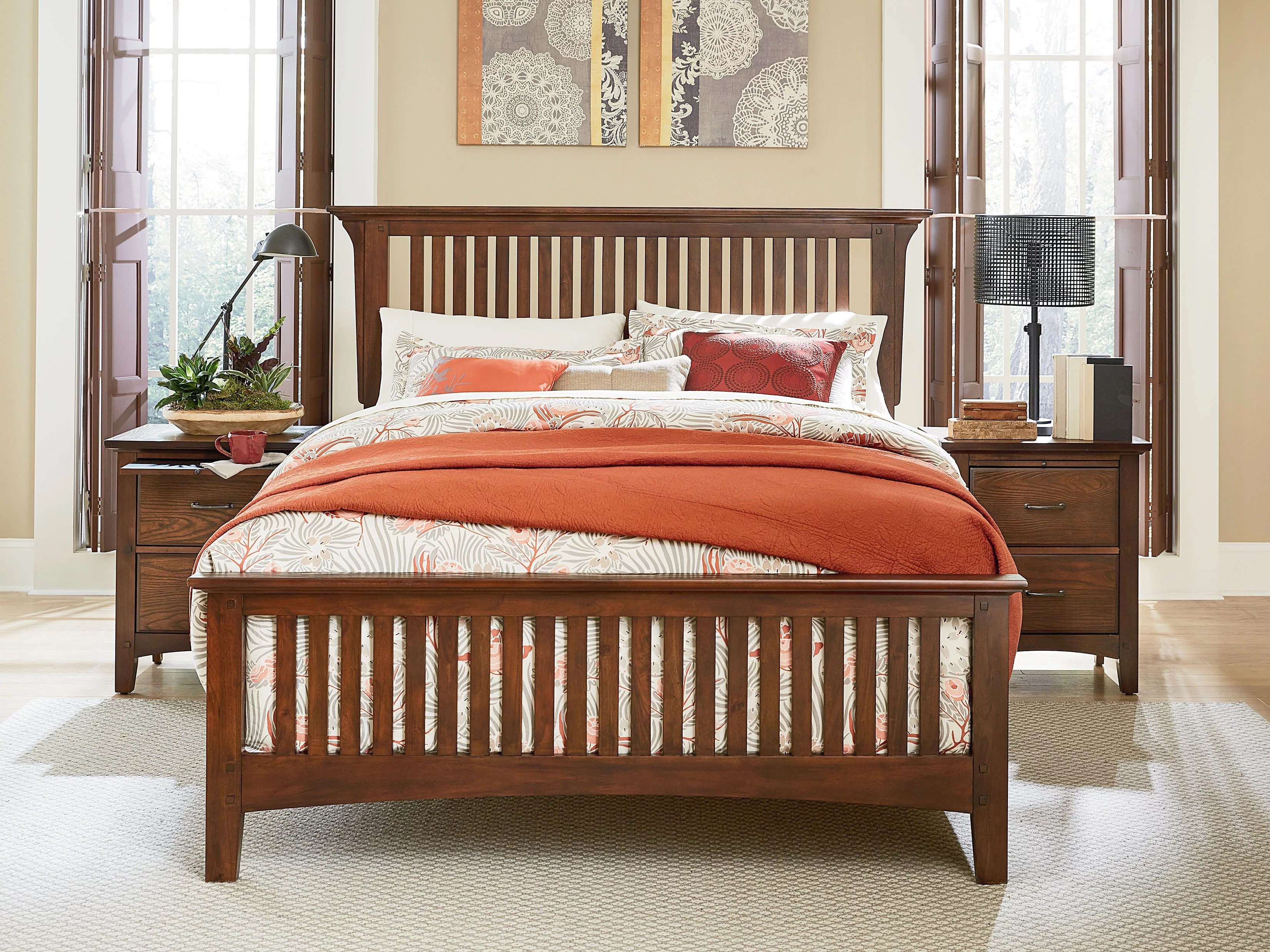 modern mission bed set with headboard footboard and bed rails multiple sizes