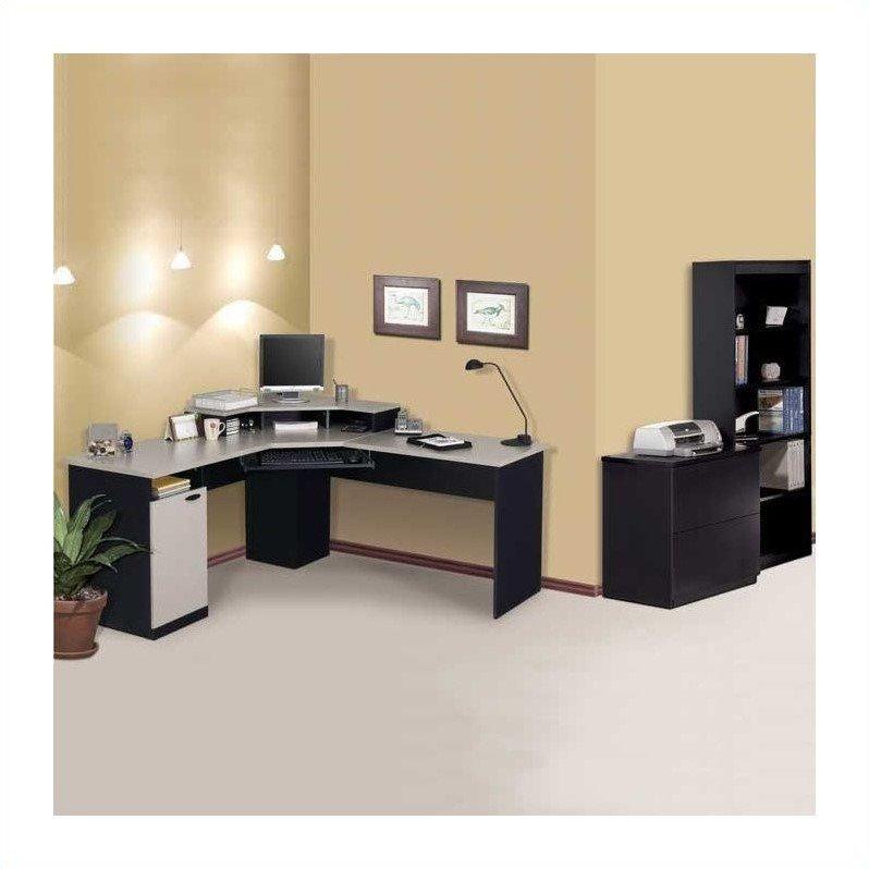 bestar hampton corner computer desk set in sand granite charcoal walmart com