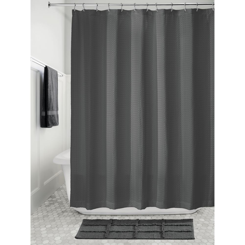 idesign waffle fabric shower curtain charcoal