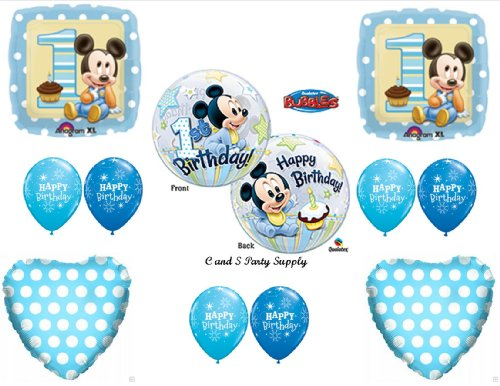 New Baby Mickey Mouse Birthday 1st First Party Balloons Decorations Supplies Walmart Com Walmart Com