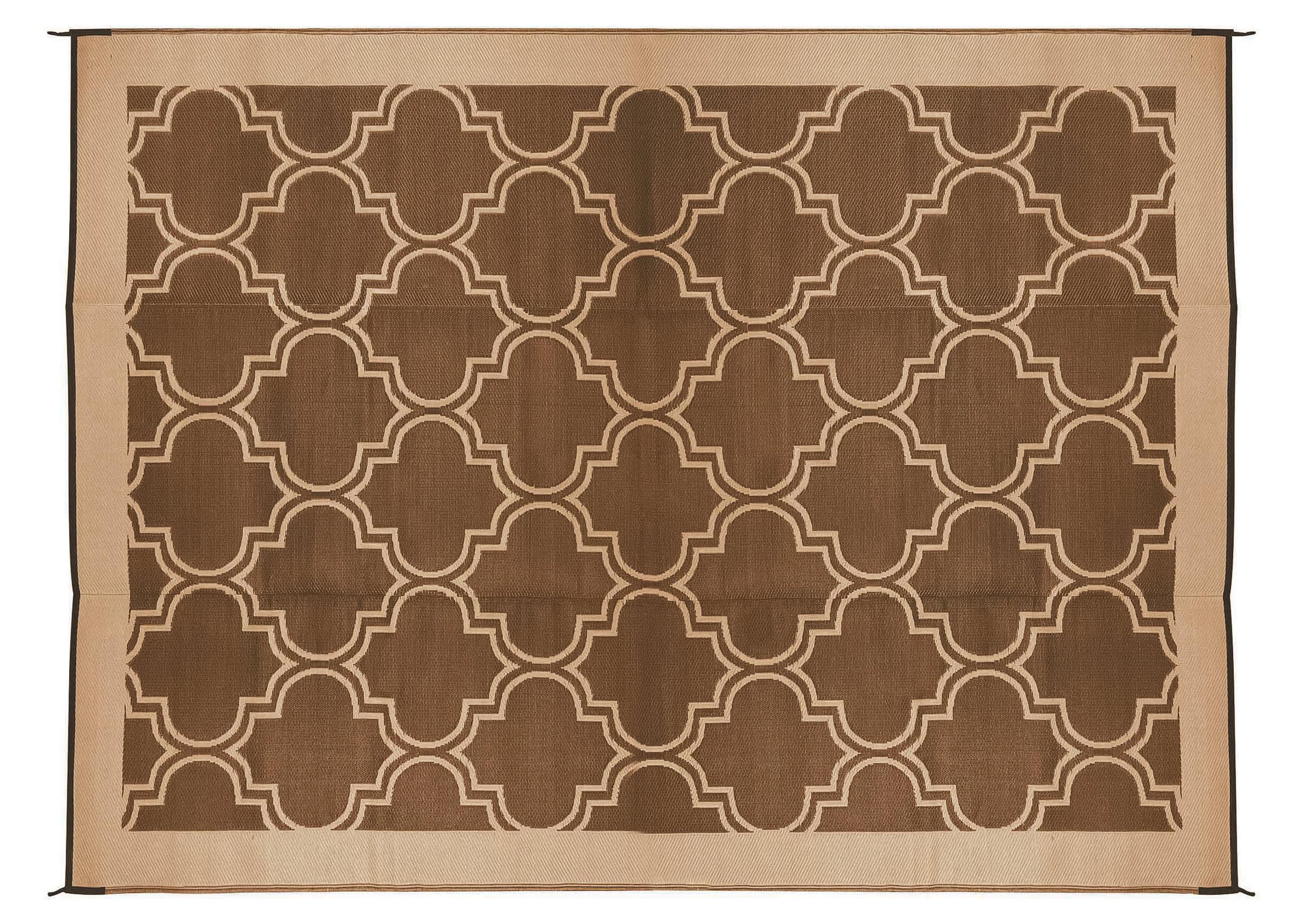 camco 42857 9 x 12 reversible rv outdoor mat brown tan lattice