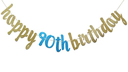 Happy 90th Birthday Banner Glitter Party Bunting 90th Birthday Party Decorations Gold Blue Walmart Canada