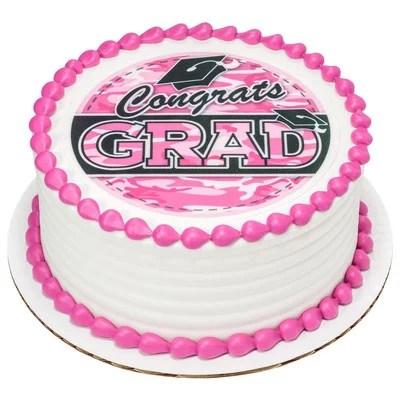 Edible Frosting Photo Graduation Cake Topper Pink Camo Walmart Com Walmart Com