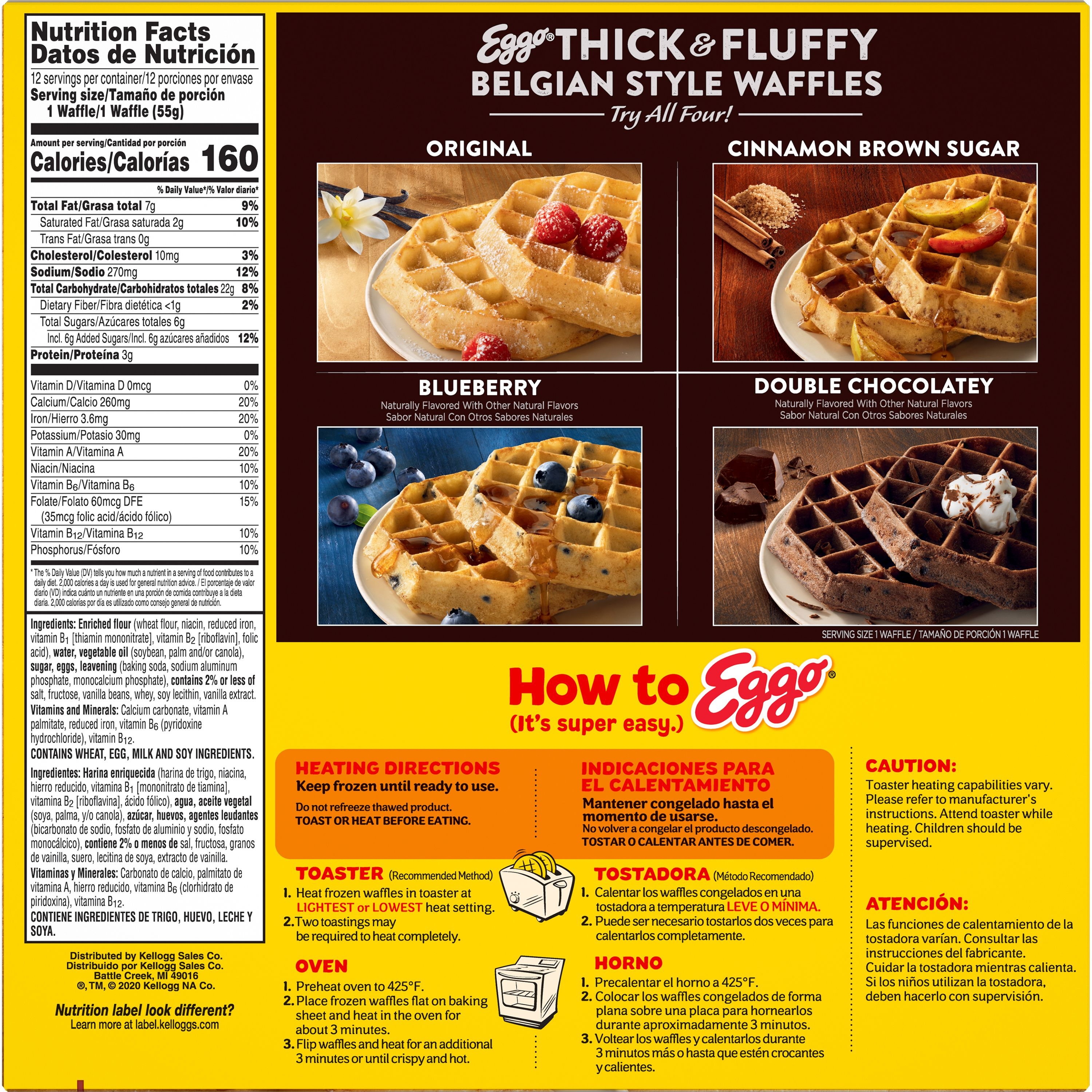 eggo thick and fluffy frozen waffles original easy breakfast family pack 12ct 23 2oz
