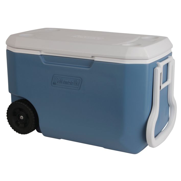 Coleman 62 quart extreme is a heavy duty cooler with wheels that you can take it anywhere.