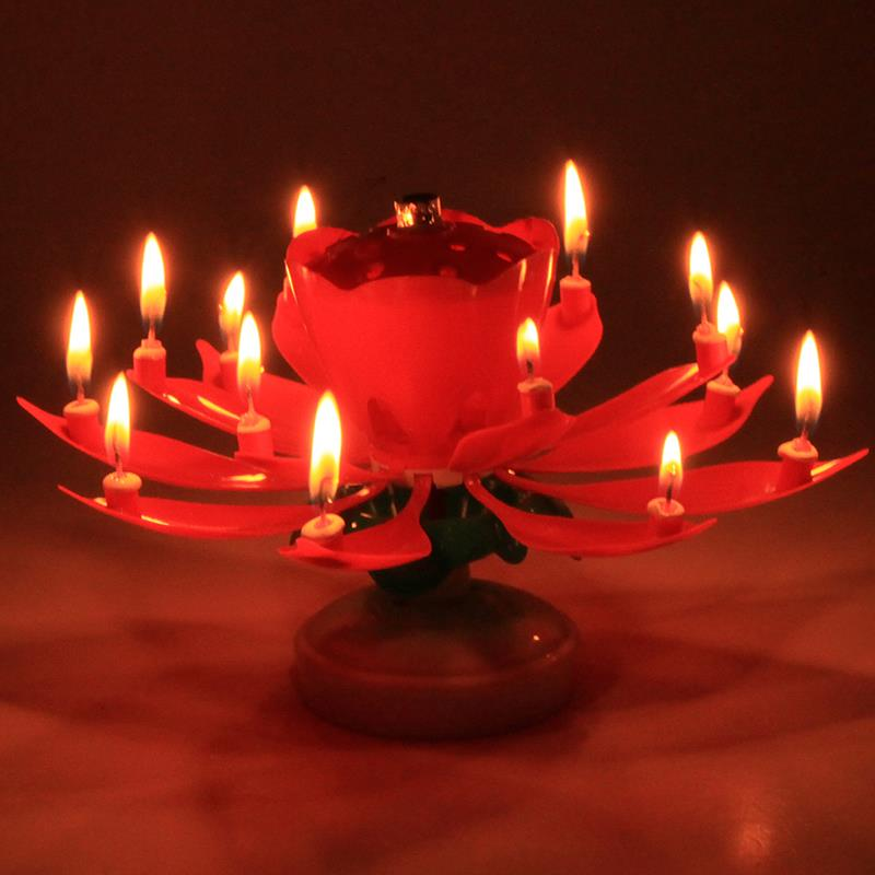 Gzyf 1pc Magic Flower Lotus Birthday Candles Musical Rotatable Double Layers Cake Candle Spin Candle With 14 Small Candles Red Walmart Com Walmart Com