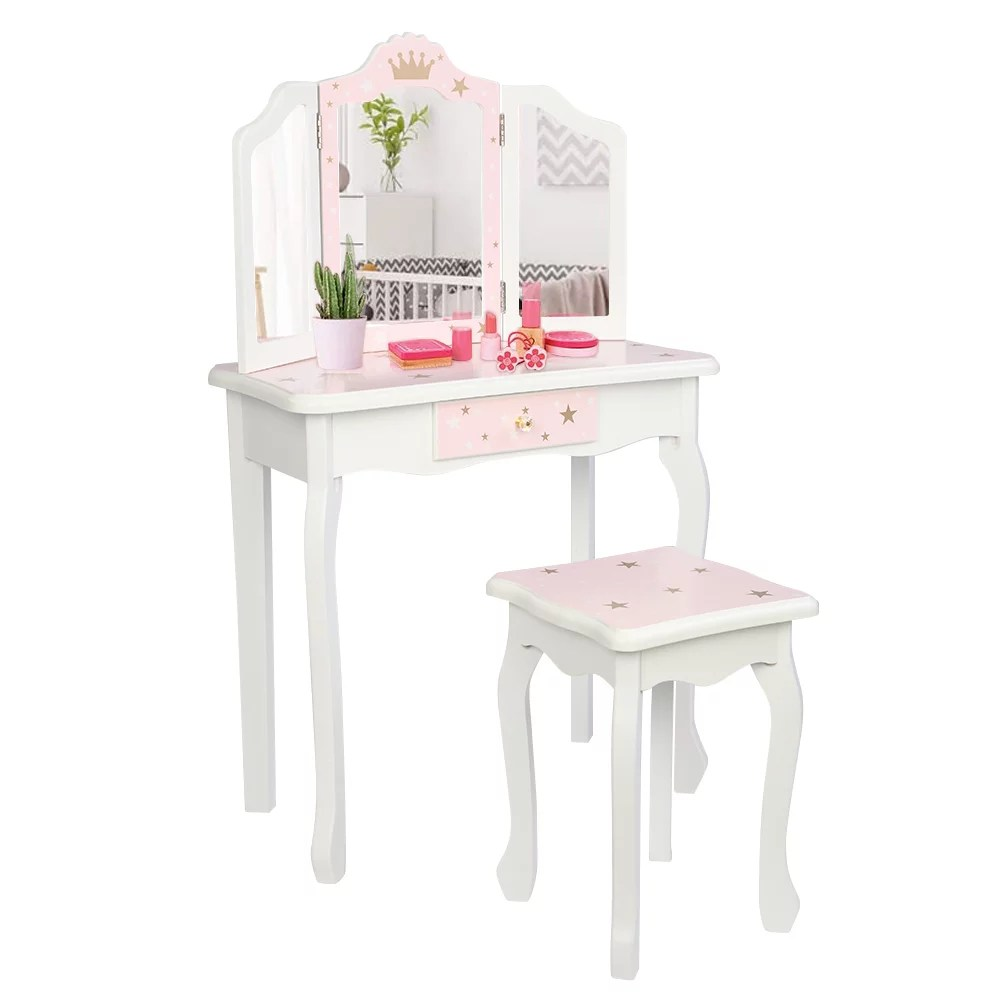 children s vanity sets for girls 39 x 23 x 11 42 vanity set with wood stool wooden toy dressing table with single drawer 3 folding mirror