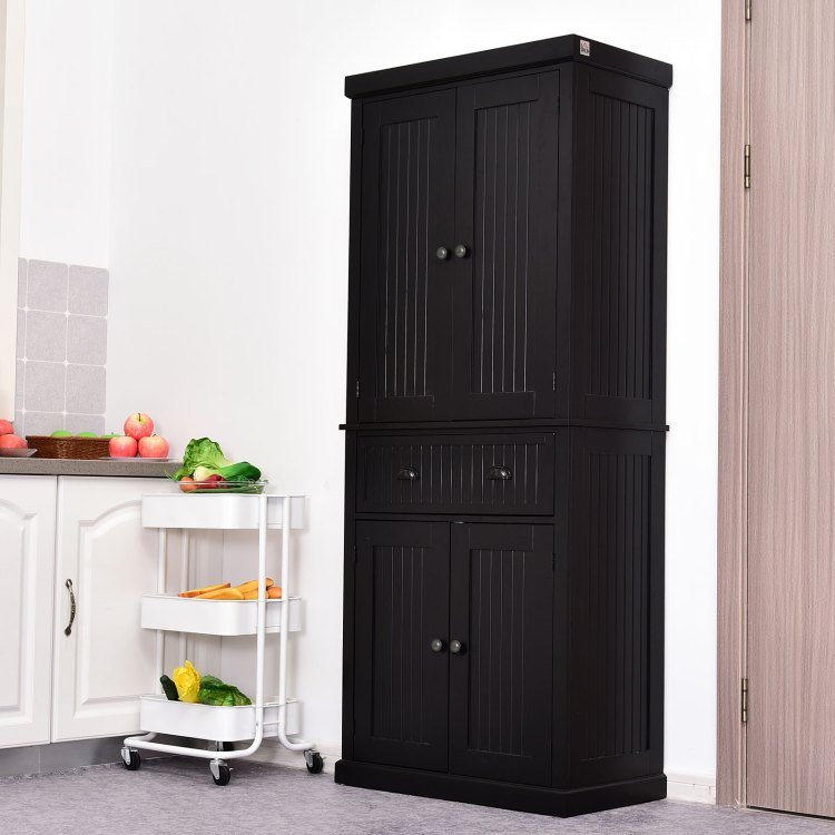 Homcom Traditional Freestanding Kitchen Pantry Cabinet Cupboard With Doors And Shelves Adjustable Shelving Walmart Com Walmart Com