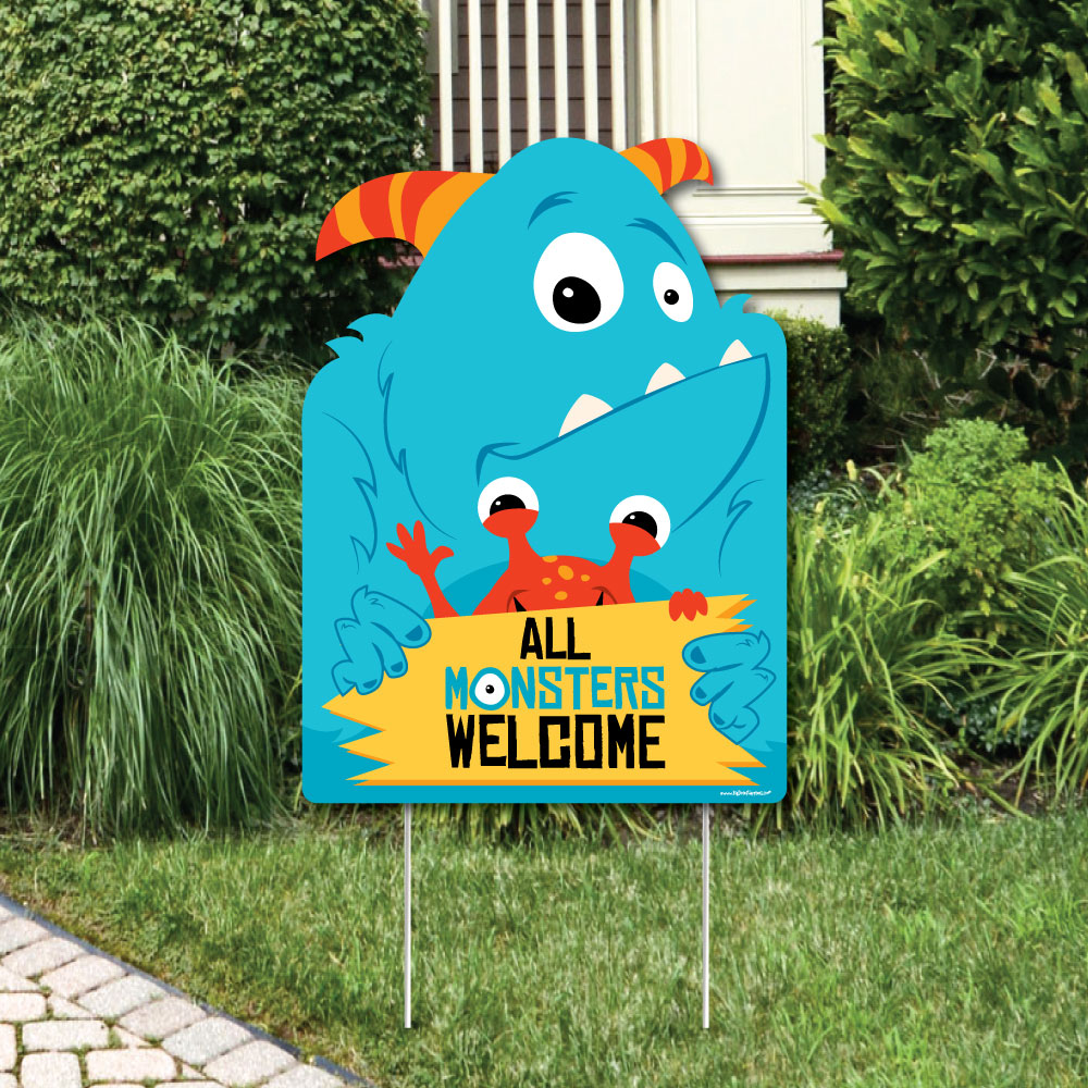 Monster Bash Party Decorations Little Monster Birthday Party Or Baby Shower Welcome Yard Sign Walmart Com Walmart Com