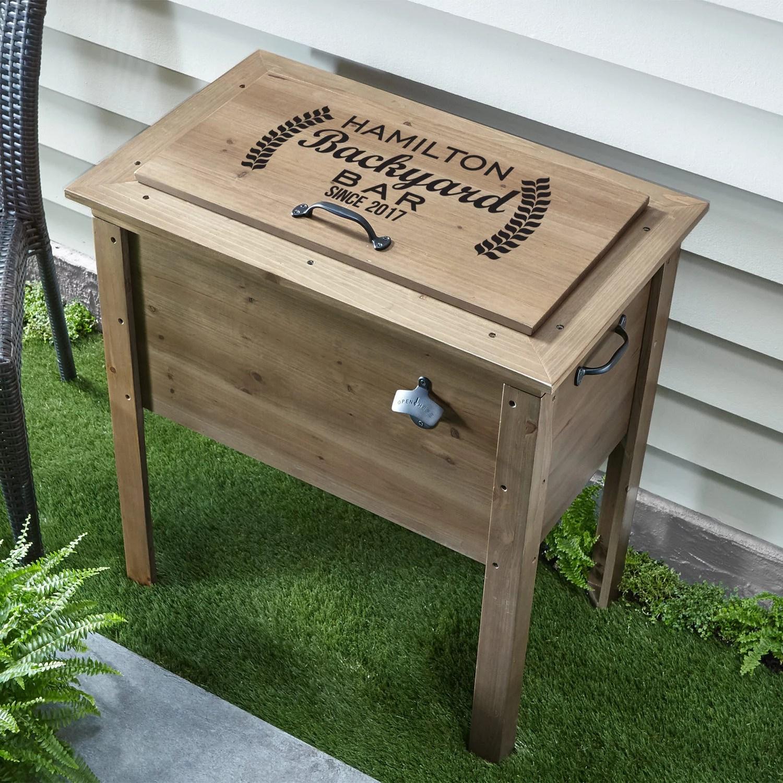 personalized backyard bar wooden beverage cooler walmart com