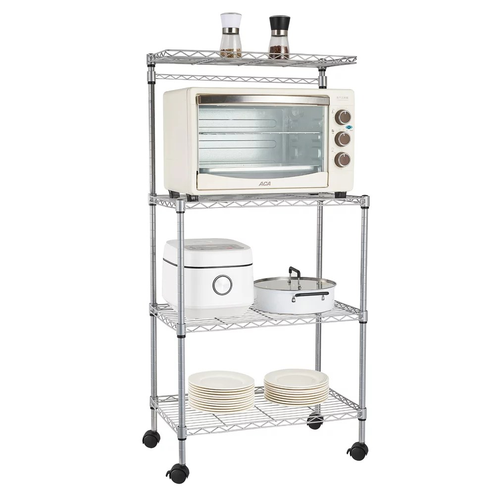 kitchen rolling microwave cart 4 tier heavy duty corner bakers rack for oven pot plates microwave stand w wheels metal storage shelves for