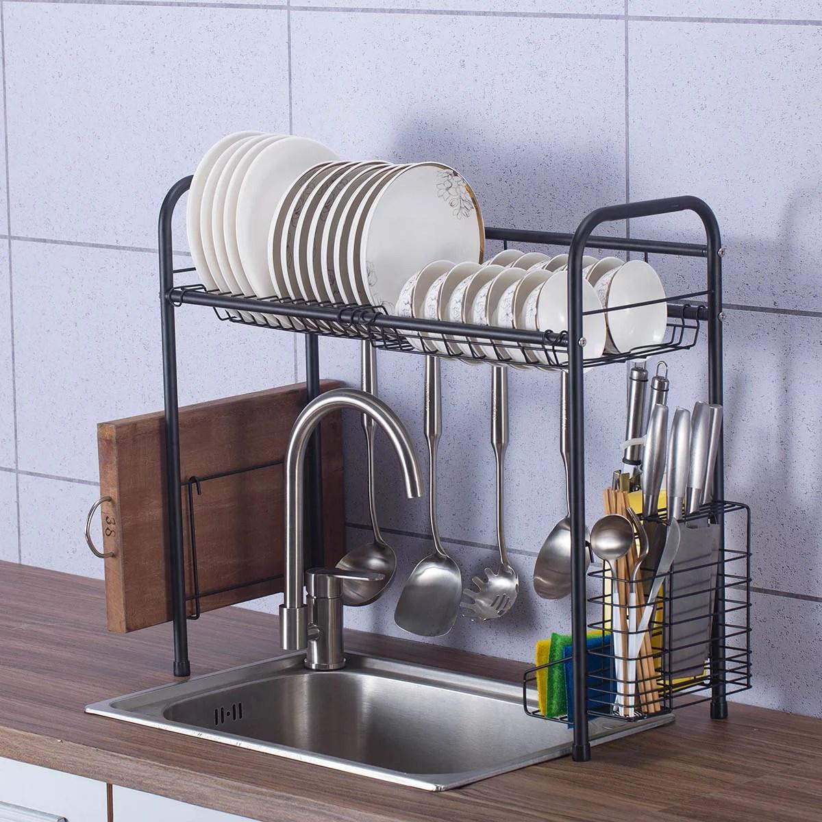 stainless steel dish drying rack over sink drainer shelf storage rack kitchen cutlery utensils holder
