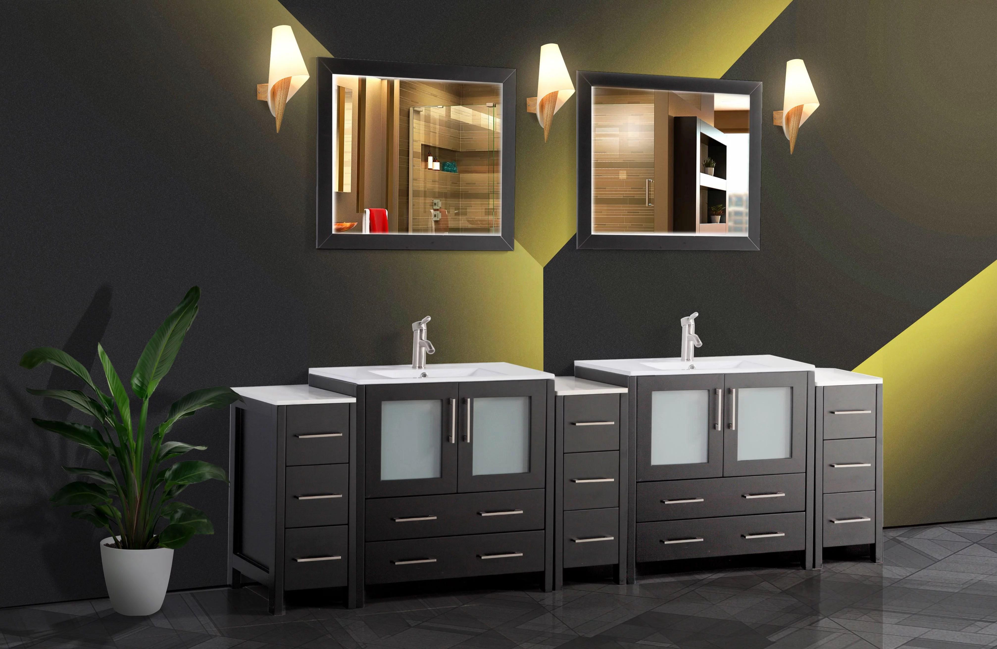 Vanity Art 96 Double Sink Bathroom Vanity Combo Set Modern Bathroom Storage Solid Wood Ceramic Top Under Sink Cabinet With Mirror Walmart Com Walmart Com