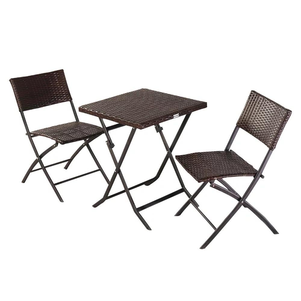 patio rattan conversation set 3 piece folding bistro set pe rattan outdoor furniture set with rustproof steel frames 2 foldable wicker chairs 1