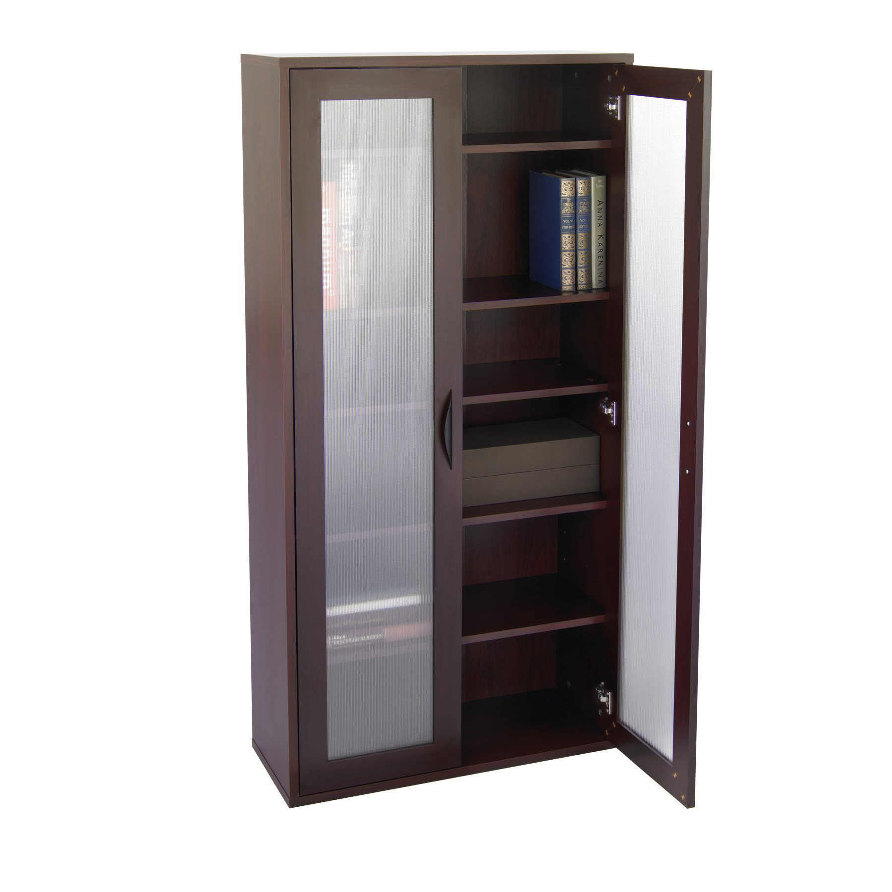 storage bookcase with glass doors tall - mahogany - walmart