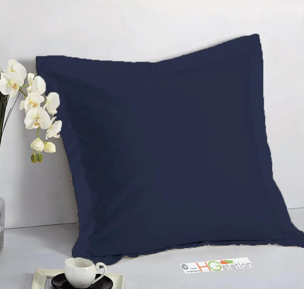 1 pair 2 pieces euro pillow shams 26 x 26 1 5 hem navy blue machine wash dry