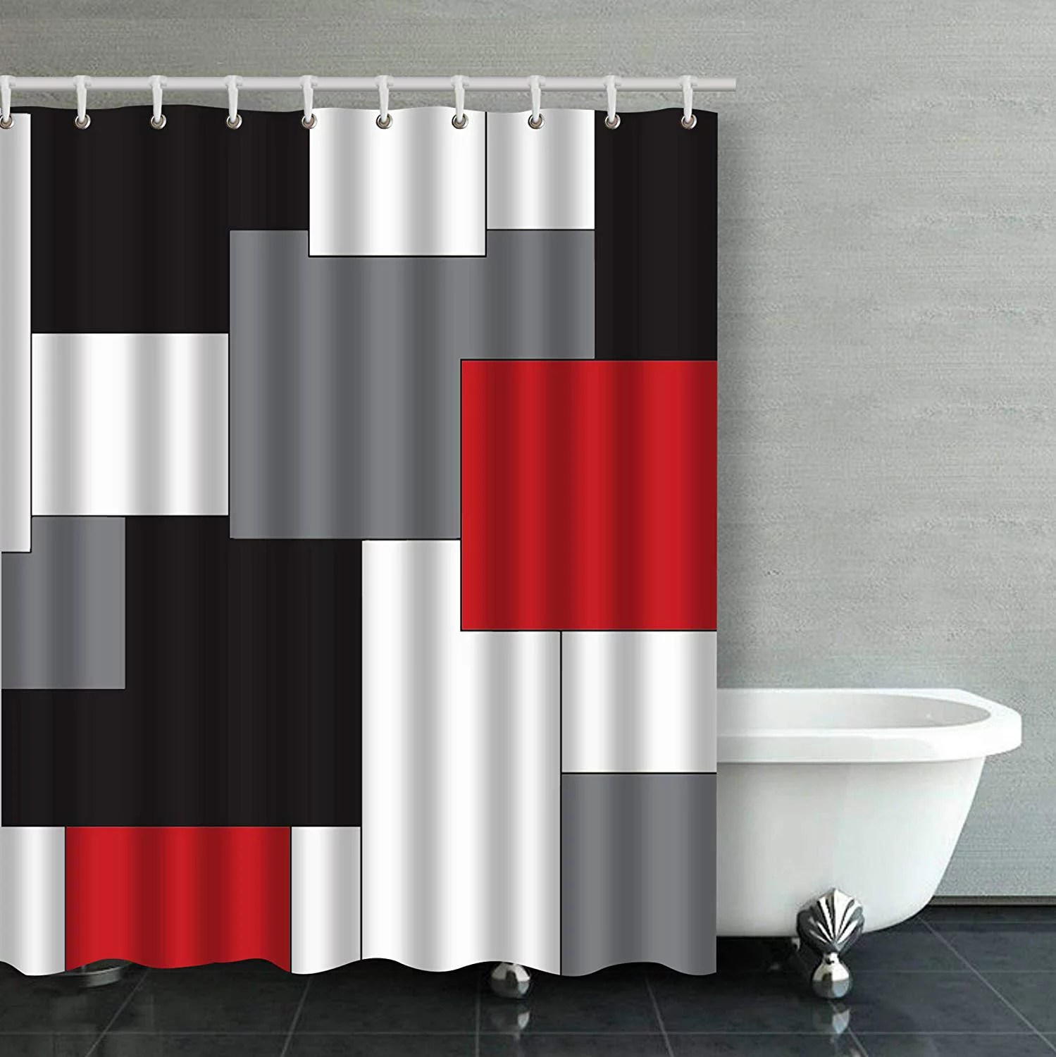 bpbop wavy vertical stripes red black white and grey bathroom shower curtain 60x72 inches walmart com