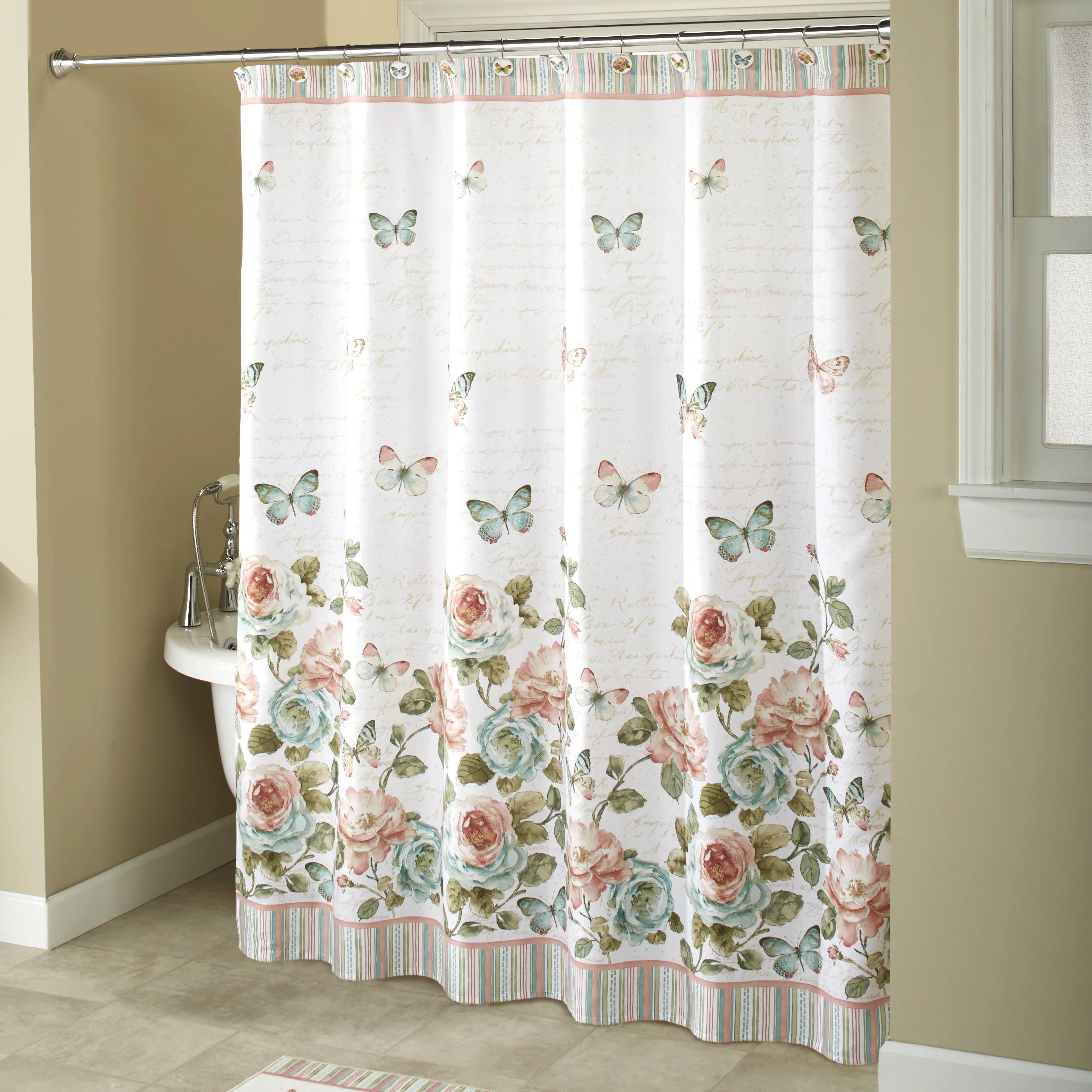rose garden white shower curtain farmhouse floral accent