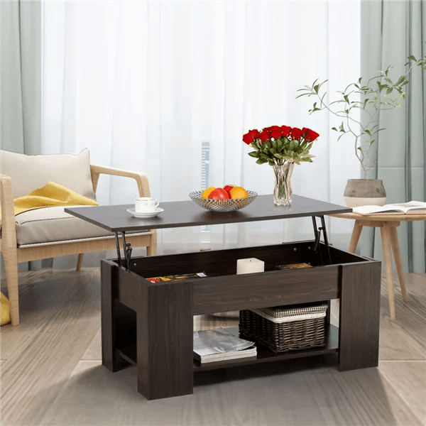 Yaheetech Lift Up Top Coffee Table With Under Storage Shelf Modern Living Room Furniture Espresso Walmart Com Walmart Com