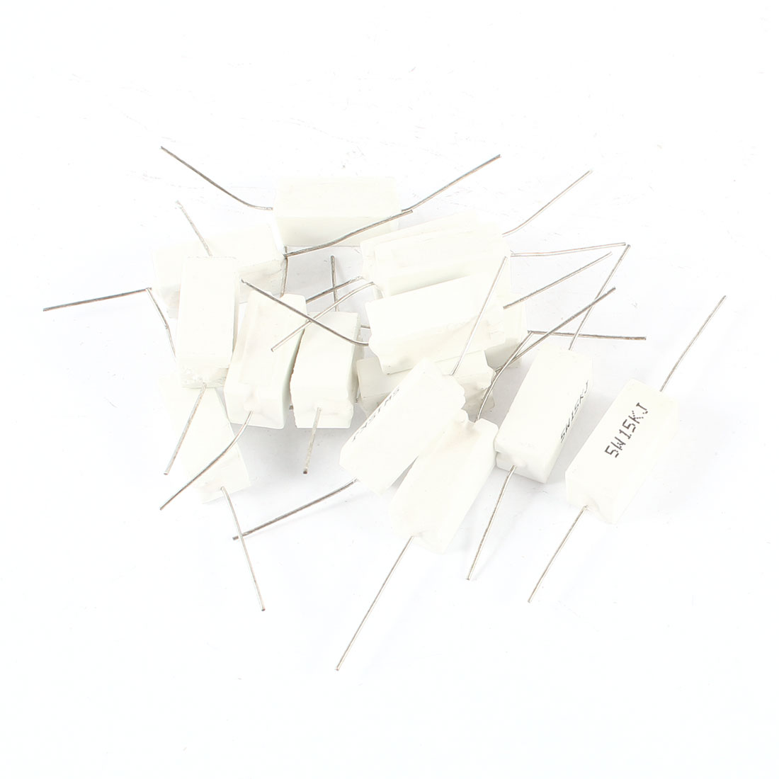 15 Pcs 15k Ohm 5 Axial Leaded Wire Wound Cement Resistors 5w