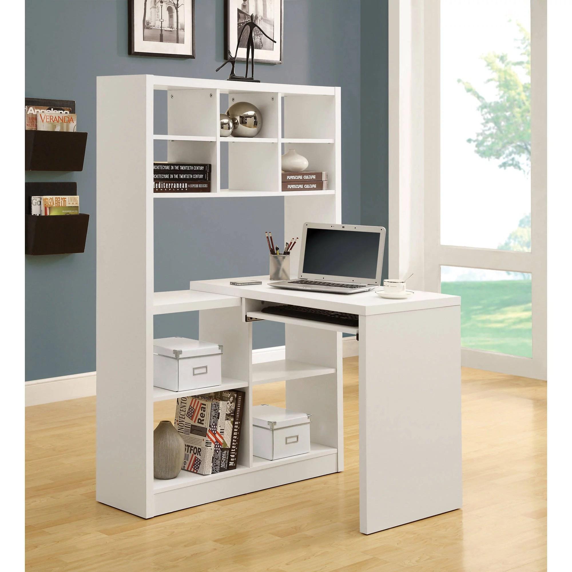 monarch hollow core left or right facing corner desk with hutch white