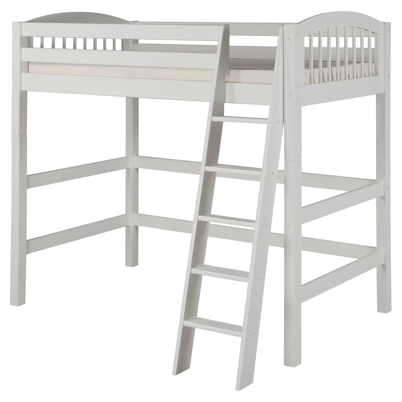 Camaflexi Twin Size High Loft Bed Arch Spindle Headboard White Finish Walmart Com Walmart Com