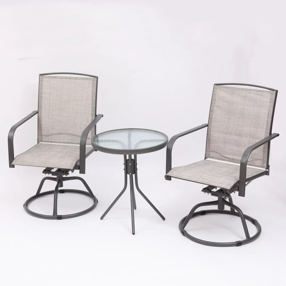 manta usa 3 pieces outdoor furniture swivel outdoor chairs bar height patio table and chairs set all weather outdoor patio furniture for