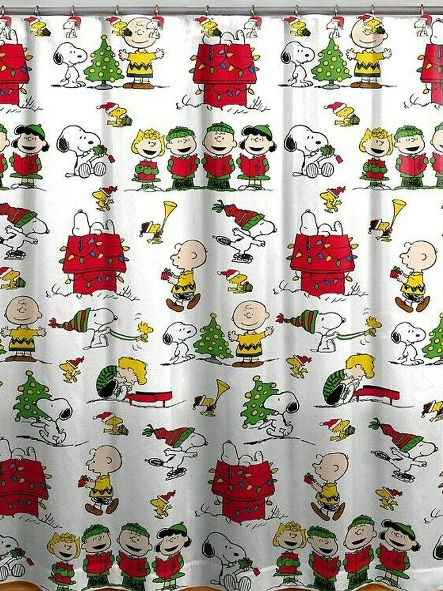 peanuts snoopy gang holiday christmas shower curtain hooks set