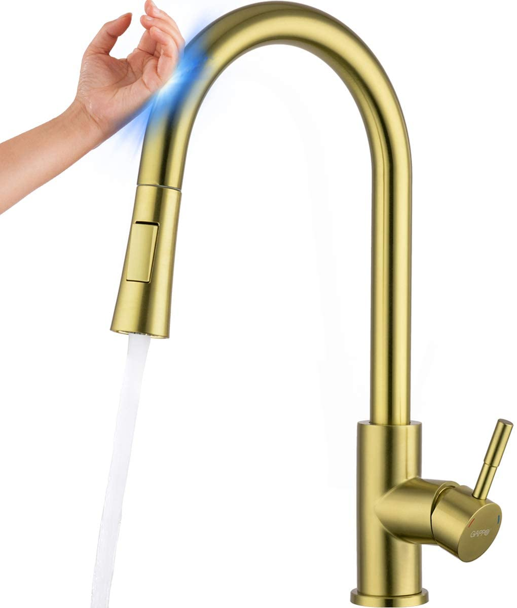 stoneway touch kitchen faucet with pull down sprayer brushed gold touch on kitchen faucet with pull down sprayer champagne gold stainless steel