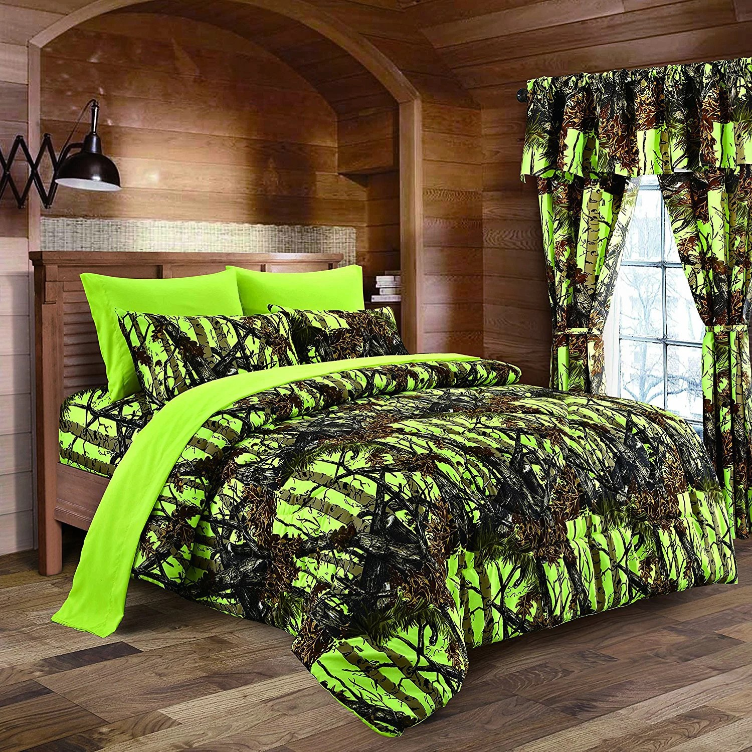 lime camouflage queen size 8pc comforter sheet pillowcases and bed skirt set camo bedding sheet set for hunters teens boys and girls