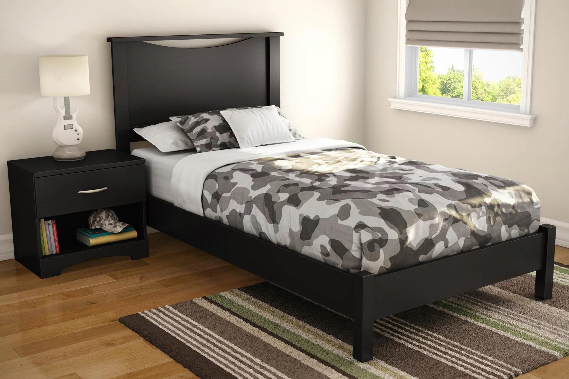 Step One Twin Platform Bed Headboard In Pure Black Walmart Com Walmart Com