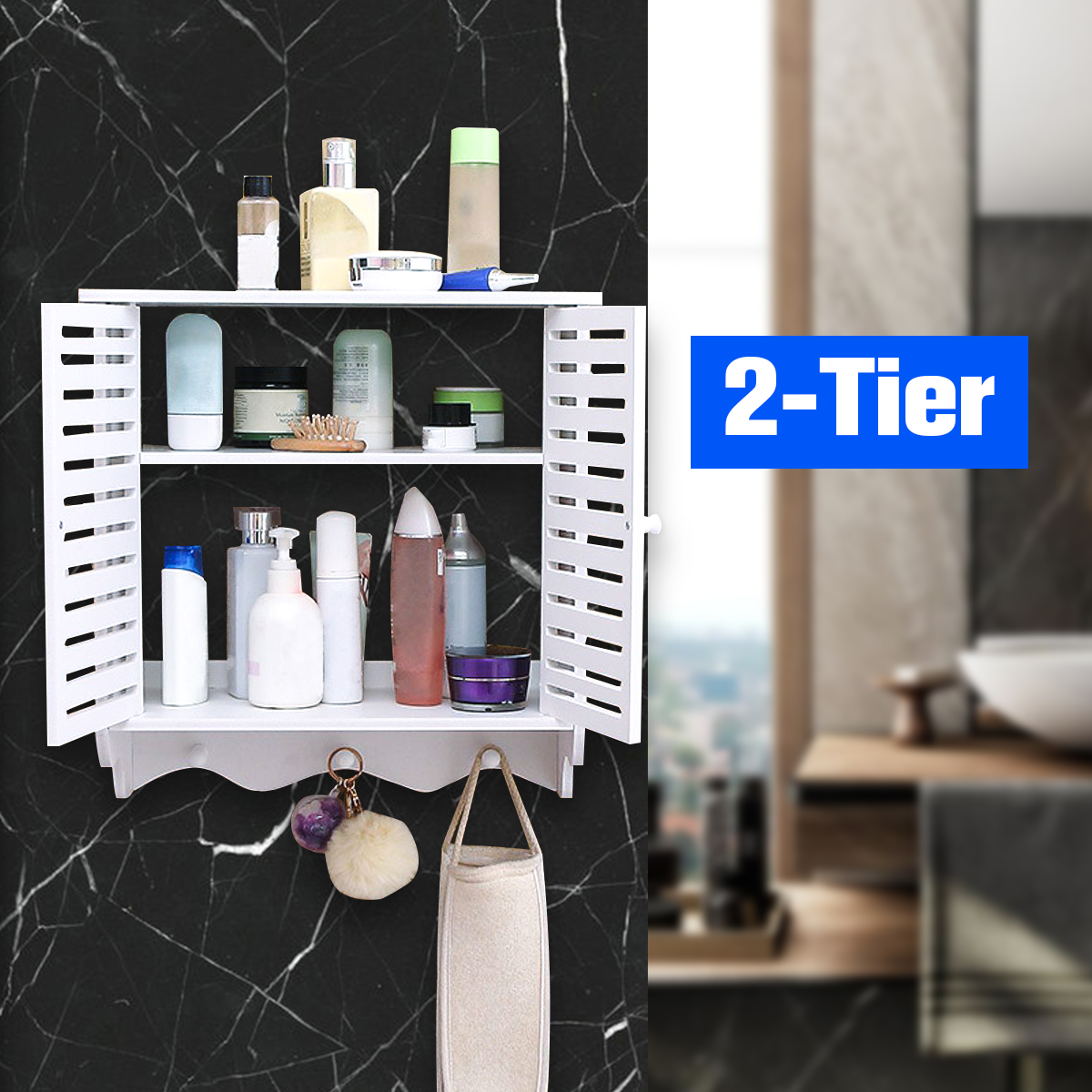 2 Tier Bathroom Wall Mount Shelf Shower Cosmetic Storage Closet Organizer Holder Walmart Canada