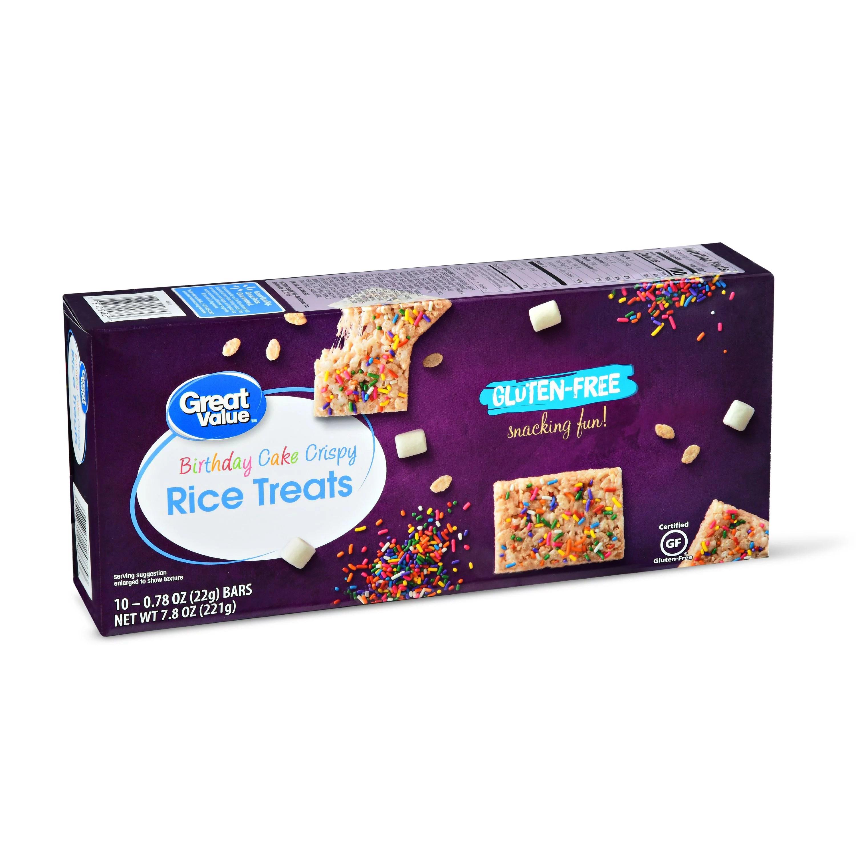 Great Value Gluten Free Crispy Rice Treats Birthday Cake 7 8 Oz 10 Count Walmart Com Walmart Com