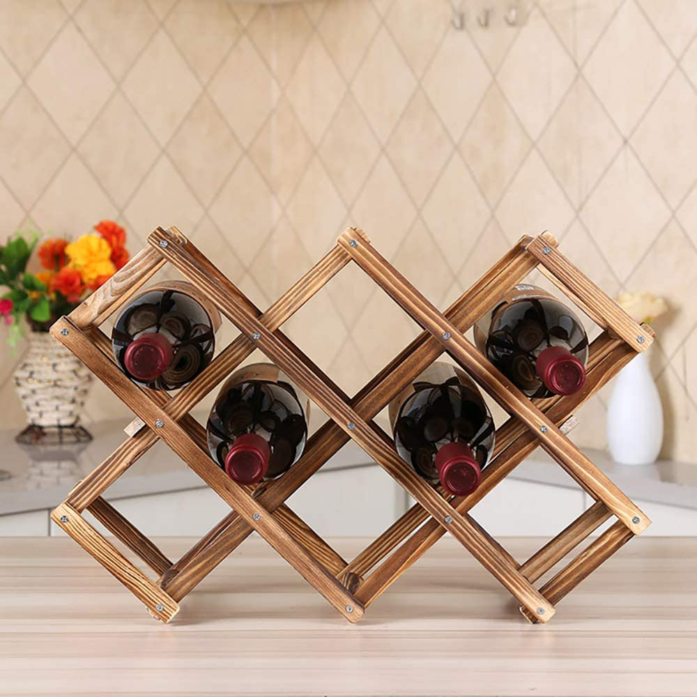 wine holder foldable wooden wine rack drink bottle storage organizer free standing 10 bottles capacity wine display shelf stand for countertop home