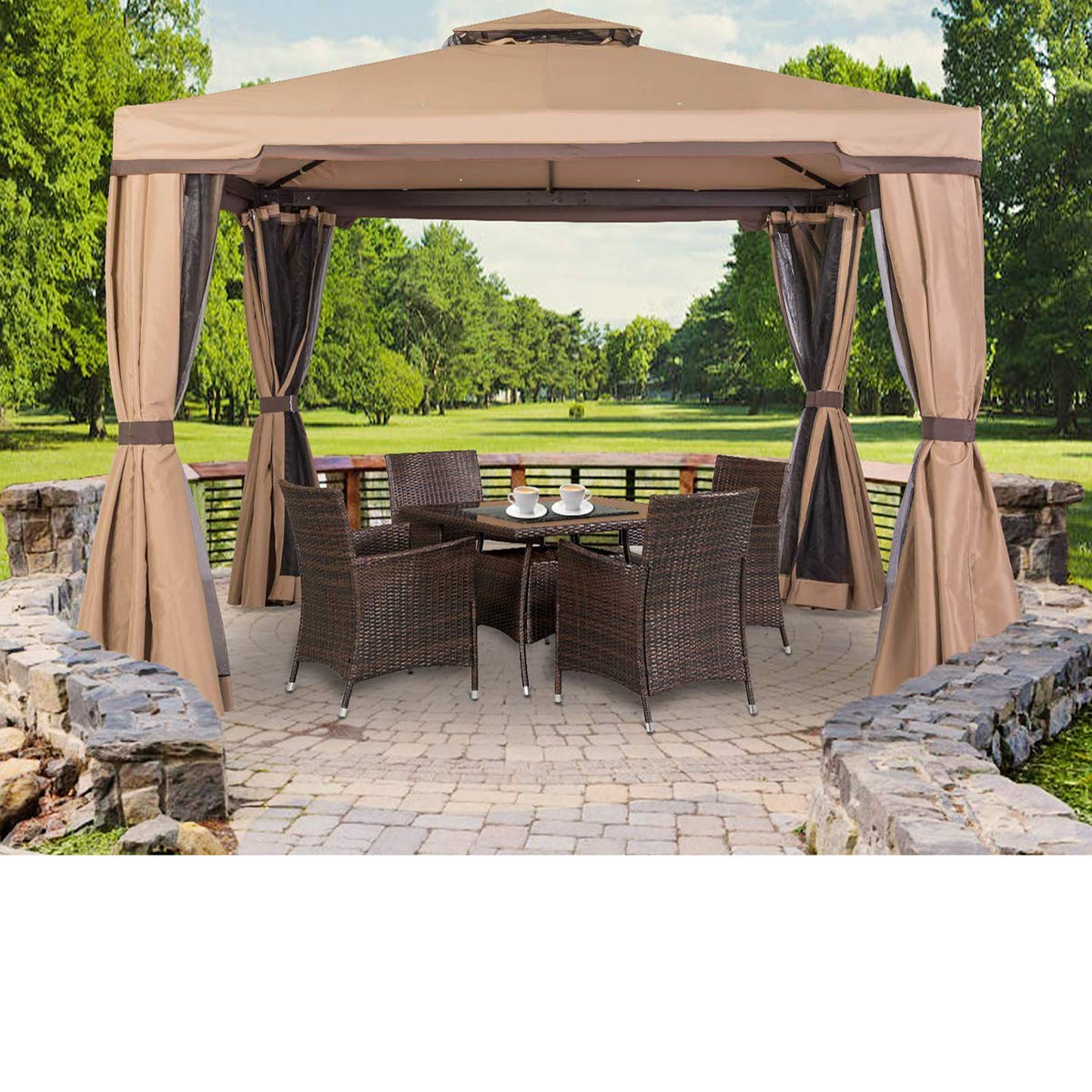 suncrown outdoor patio garden gazebo 10 x 10 ft with vented soft canopy double square tops and mosquito netting beige