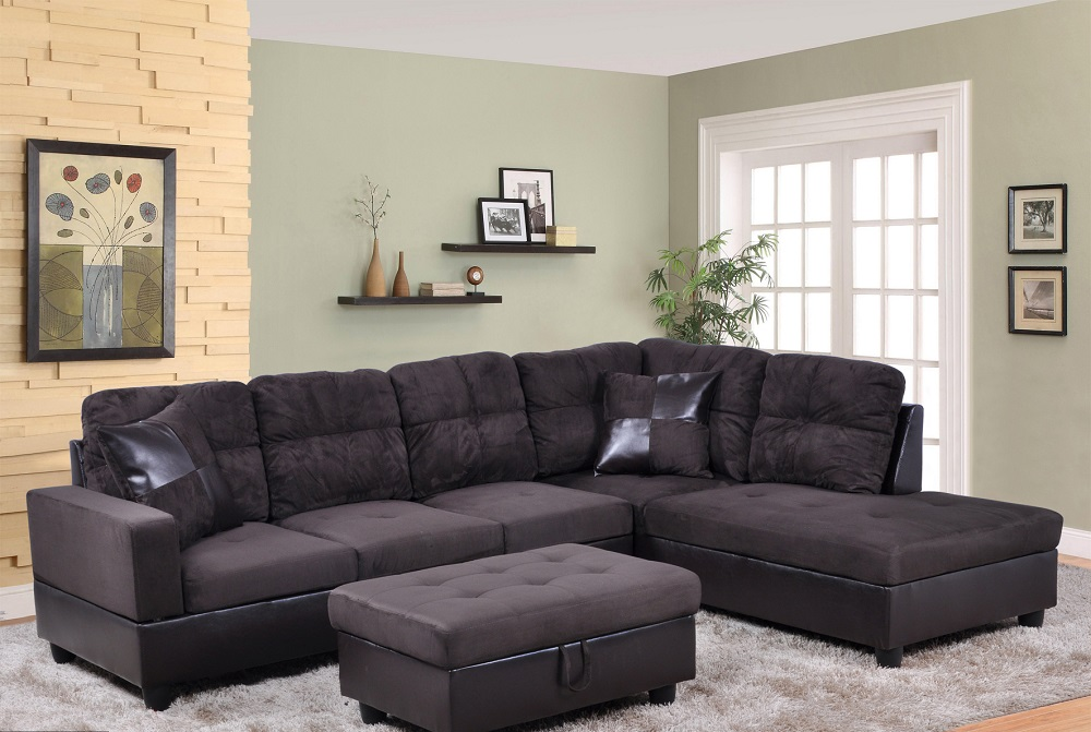 ezekiel 103 5 right hand facing sectional sofa with storage ottoman microfiber leather upholstered
